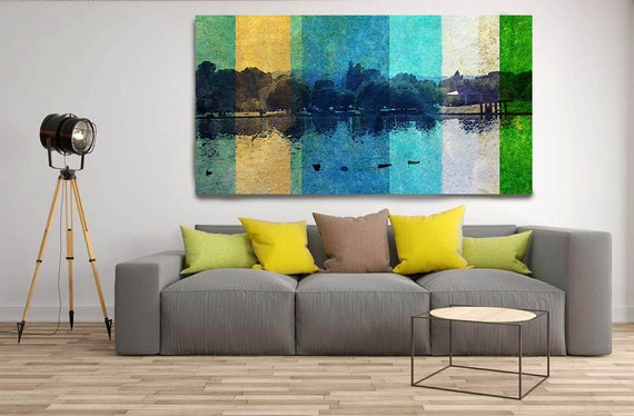 "Summer is here. Huge Rustic Landscape Painting Canvas Art Print, Extra Large Blue Yellow Green Canvas Art Print up to 80"" by Irena Orlov"