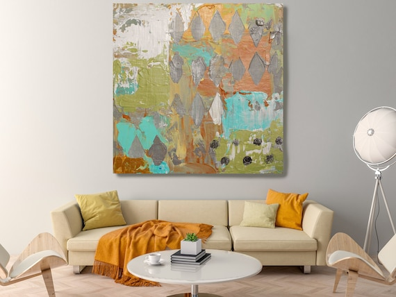 Abstract Painting, Green Orange Abstract Art, Modern Wall Decor, Large Canvas Art Print , Over and Over.