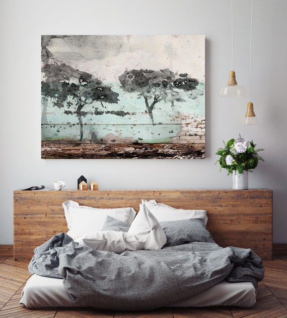 "In Balance. Huge Rustic Landscape Painting Canvas Art Print, Extra Large Gray Beige Brown Green Canvas Art Print up to 80"" by Irena Orlov"