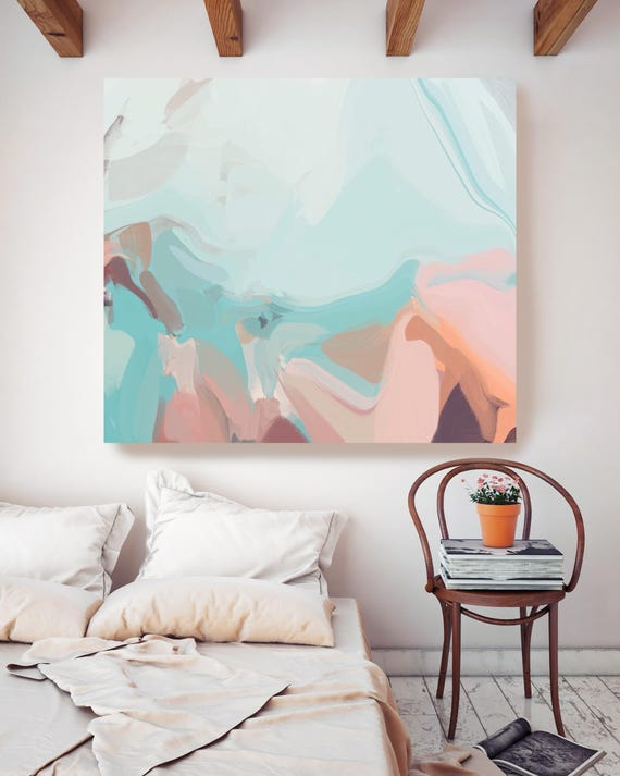 """Jet Stream. ORIGINAL LARGE Abstract Painting, Custom Extra Large Pink,Mint Green Painting  Wall Art Oil Painting up to 50"""" by Irena Orlov"""