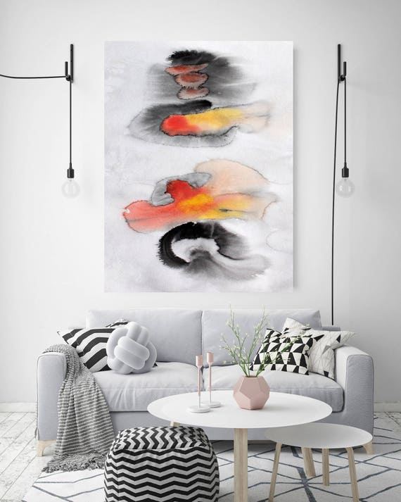 "Join Forces. Watercolor Abstract Red Black Canvas Art Print, Extra Large Canvas Art Print  up to 72"" by Irena Orlov"