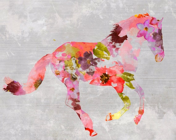 Red Floral Horse Painting Mixed Media Horse Painting Canvas Print BOHO Horse Floral Horse Art Large Canvas, Painted Horse Boho Wall Art
