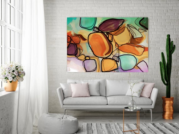 "Memories in Bloom. Orange, Green Art, Wall Decor, Extra Large Abstract Colorful Contemporary Canvas Art Print up to 72"" by Irena Orlov"