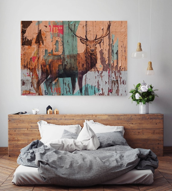 "Deer. Extra Large Rustic Animal Canvas Art Print up to 72"", Large Rustic Deer Farmhouse Canvas Wall Art by Irena Orlov"
