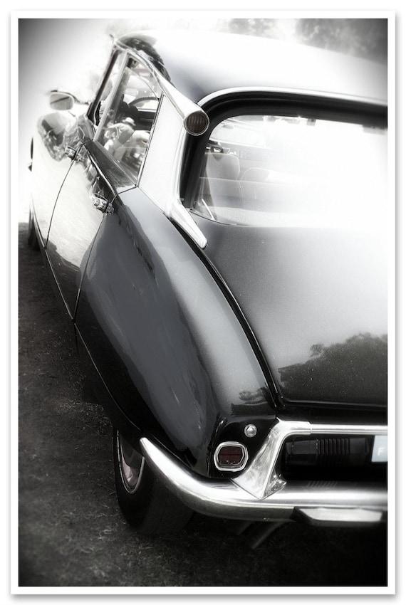 Vintage Auto. Large car canvas print. Black and white car detail canvas print, wall decor car print, fine art photography car print