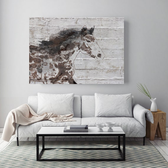 Arizona Horse. Horse Art Large Canvas, Horse Art, Brown Rustic Horse, Vintage Horse Running horse Canvas Print Horse Painting Farmhouse Art