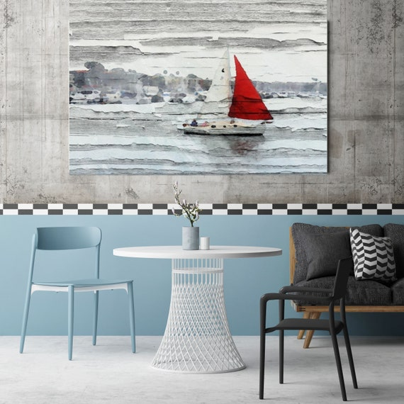 "Scarlet Sails. Large Rustic Seascape Boat Red, Grey and White Canvas Art Print up to 60"" by Irena Orlov"