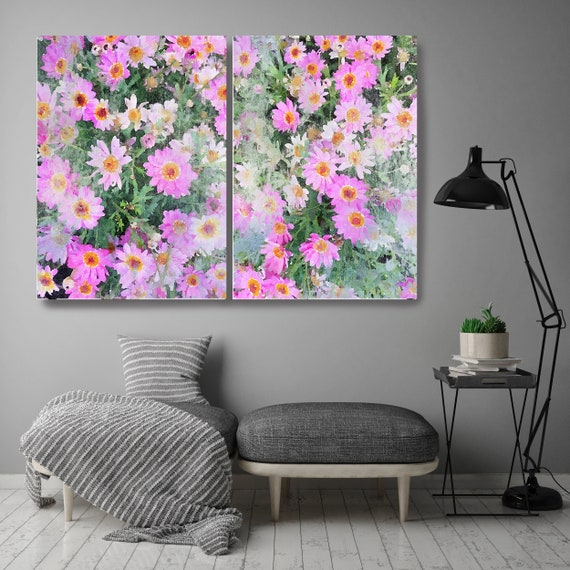 A garden in bloom Diptych-2 piece-Floral Painting Farmhouse Decor Hot Pink Watercolor Painting Print Floral canvas print Farmhouse Painting