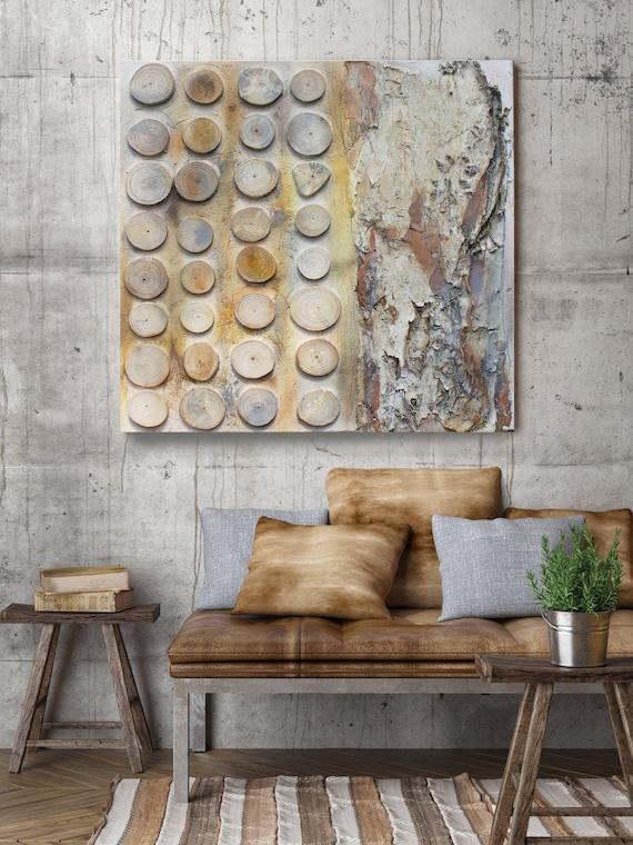 ECO Wood, Sculpture Wood Wall Art on Canvas, Natural Art, Eucalyptus Bark, Geometric Tree Wood Slices Round, Rustic Canvas by Irena Orlov
