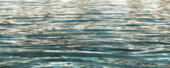 "Clear Waves. Large Water Canvas Art Print 22 x 55"", Seascape Blue Gold Blur Water Photography Print by Irena Orlov"