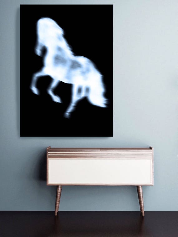 "Black Running Horse 2. Extra Large Horse Wall Decor, Black Contemporary Horse, Large Contemporary Canvas Art Print up to 72"" by Irena Orlov"