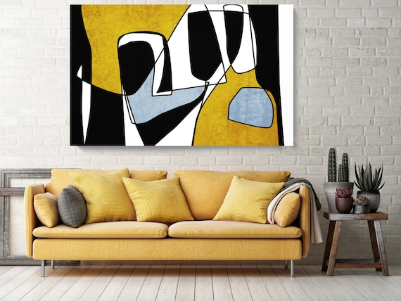 Abstract Line Art 24. Line Art Modern Yellow Canvas Art Print Scandinavian print Minimalist abstract Wall decor Black Yellow Minimalist Art