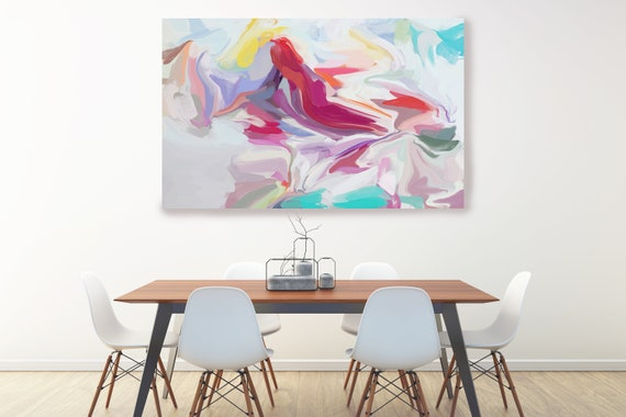 Energy surrounding your life, Hot Pink Radiant Art, Abstract painting, Colorful painting, modern art, Canvas Art Print, Fluid painting