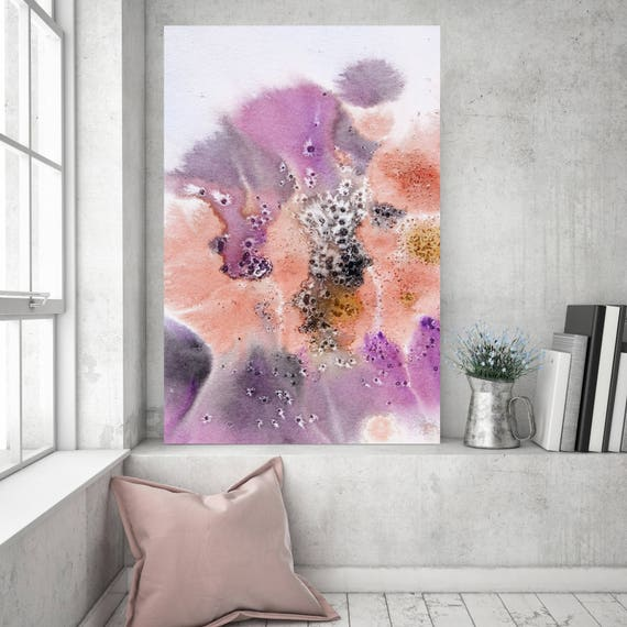 "Coastal Watercolor Abstract 65. Watercolor Abstract Pink Orange Canvas Art Print up to 72"" by Irena Orlov"