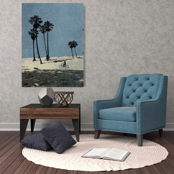 "ORL-6980-1 Venice Beach Summer Day, Extra Large Seascape Rustic Blue Canvas Wall Art Print Large Canvas Print up to 72"" Beach Art"