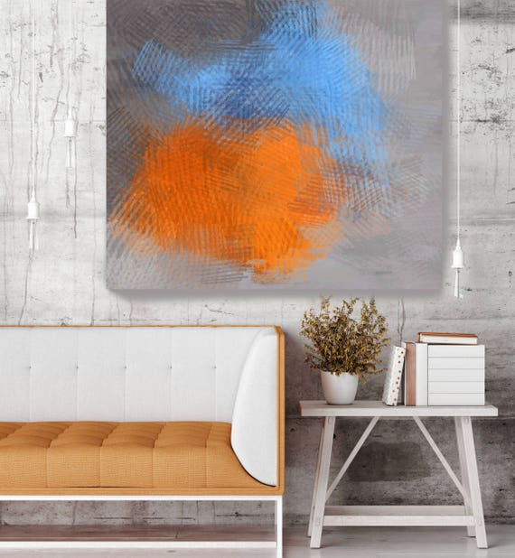 "Eco Earth No 47. Blue Orange Abstract Paintings Art, Extra Large Abstract Colorful Contemporary Canvas Art Print up to 48"" by Irena Orlov"