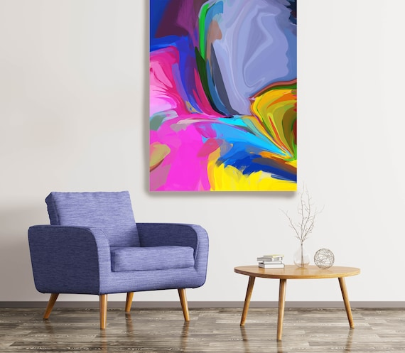 Desert Mirage 5, Original Neon Colors Painting, Canvas Art, Abstract Art, Abstract, Painting On Canvas, Large Art, Large abstract