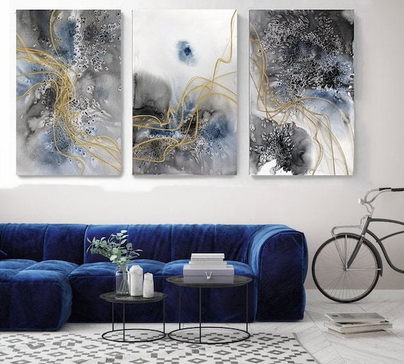 Blue Flow Contemporary TRIPTYCH canvas art prints-3 panels Stretched Canvas Wall Art, Canvas Art Print, Abstract Blue Gold Wall Decor
