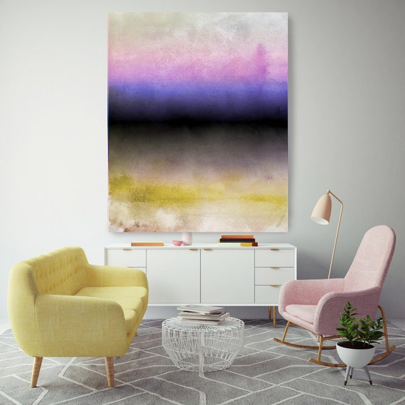 Abstract Minimalist Rothko Inspired 1-47. Abstract Painting Giclee of Original Wall Art, Purple Pink Blue Yellow Large Canvas Art Print