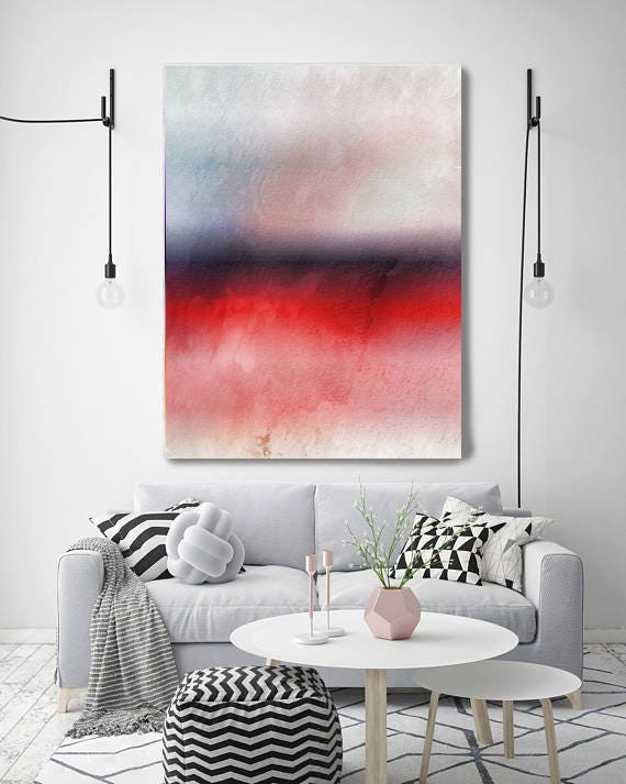 "Inspired by Rothko 63. Purple Red Watercolor Abstract, Modern Wall Decor, Large Abstract Colorful Canvas Art Print up to 72"" by Irena Orlov"