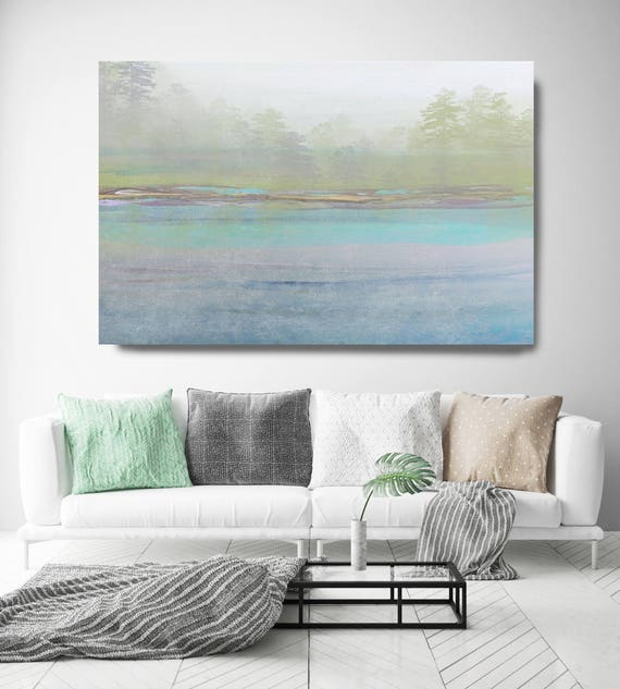 "Rustic Blue Landscape Canvas Art Print up to 72"", Extra Large Loose Landscape Art Wall Decor, Green Blue Landscape by Irena Orlov"