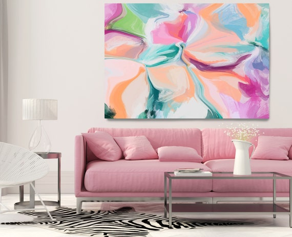 Pink Blue Abstract Painting, Trending Now Vibrant Flow Artwork Canvas Art Print, Contemporary Flow Painting Large Canvas Print Strict Soft