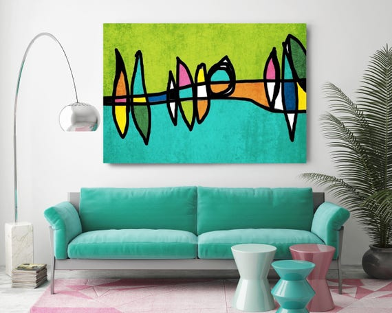Mid Century Modern Retro Canvas Print Mid Century Wall Art Large Wall Art in Teal and Green, Mid Century Wall Art, Mid Century Modern Decor