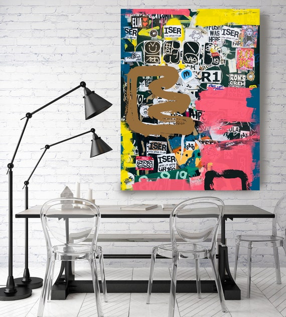 Graffiti Art, Street Art, Pink Gold Street Art Painting Print on Canvas, Large Canvas Print, Urban Canvas Print, Sort of Thought