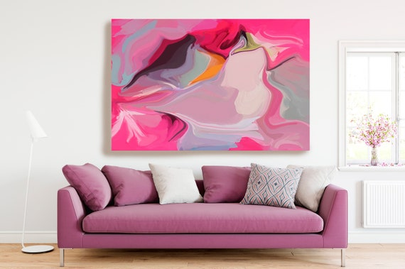 Hot Pink Gray Flow Large Abstract Art, Abstract Canvas Print Large Earthy Warm Abstract Wall Art, Abstract Painting, In action 5