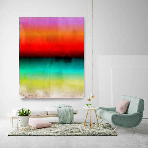 Abstract Minimalist Rothko Inspired 1-52. Abstract Painting Giclee of Original Wall Art, Blue Red Green Large Canvas Art Print up to 72""