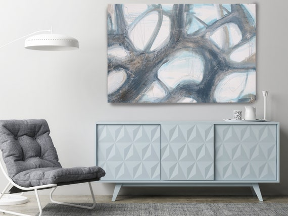 Rippled Water Surface 4-1, Blue Abstract. Abstract Paintings Art, Large Abstract Blue Gold Silver  Art, Bold Painting, Modern Canvas Print