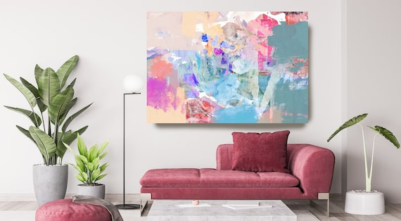Abstract Pink Blue Painting on Canvas, Extra Large Canvas Print, Oversized Textured Art, Art for Interiors, Colorful Early valley meadows