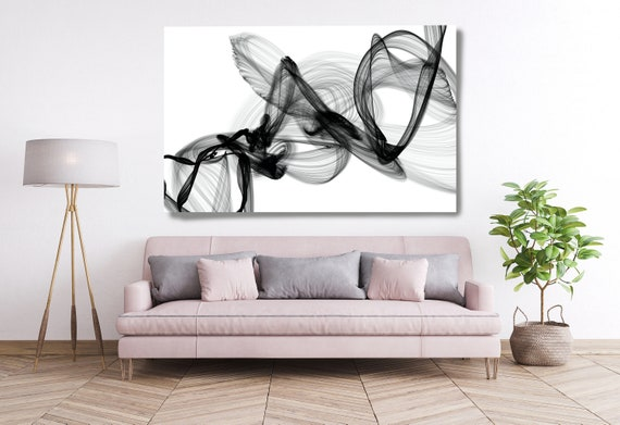 Black and White Canvas Print, Abstract Large Wall Art, Office Decor Minimalist Canvas Art, Black and White Textured Painting, Another World