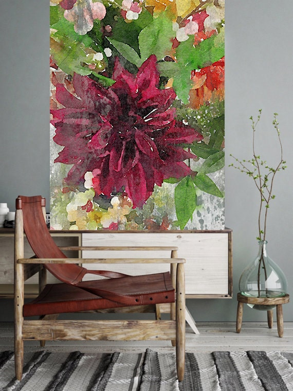 """ORL-8036-1 Watercolor Garden Blooms 4. Floral Painting, Red Green Rustic FlowerLarge Contemporary Canvas Art Print up to 72"""" by Irena Orlov"""