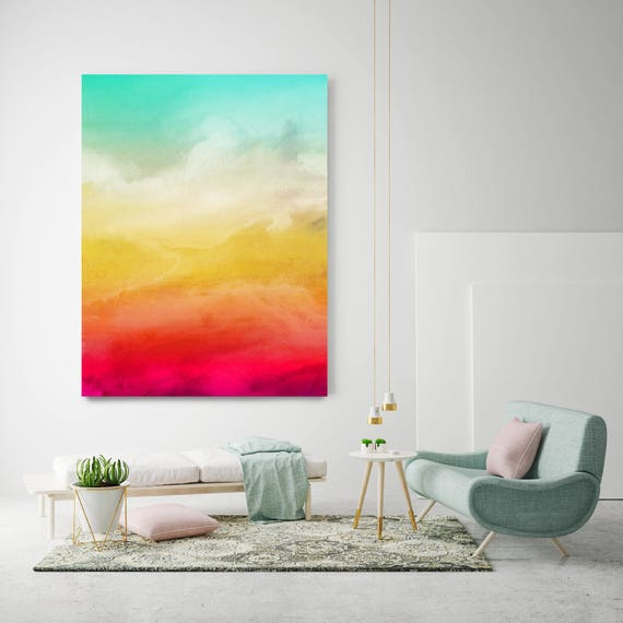 """Inspired by Rothko 41. Watercolor Abstract, Green Red Yellow Watercolor Painting Print Canvas Art Print up to 72"""" by Irena Orlov"""