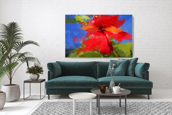 Floral Sweet. Floral Painting, Red Green Blue Abstract Flower, Blue Green Vivid Floral Canvas Art Print