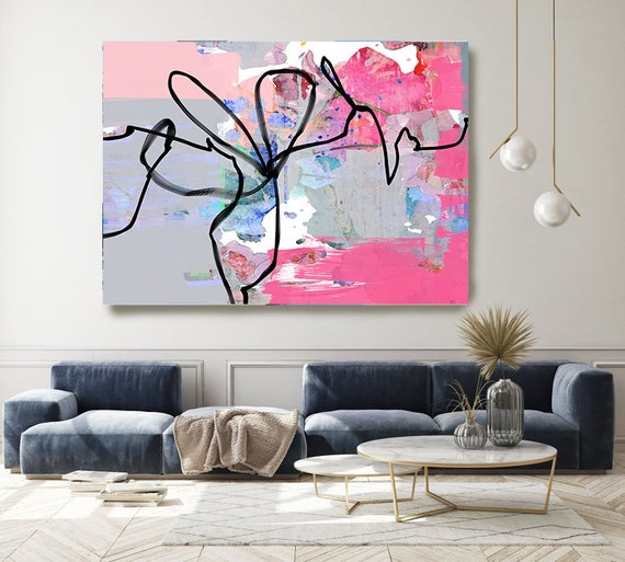 Abstract Line Gray Painting on Canvas, Extra Large Canvas Print, Oversized Textured Art, Art for Interiors, Colorful Artwork