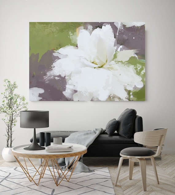 Charm. Floral Painting, White Green Gray Abstract Art, Wall Decor, White Floral Painting, White Green Abstract Canvas Art Print