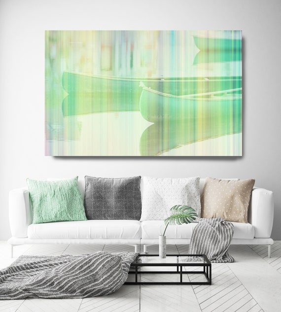 Green Boats Early Morning, Beach Decor, Boat, Coastal Wall Canvas Art Print, Fishing Boat, Seascape Painting, nautical, ocean, boats, water