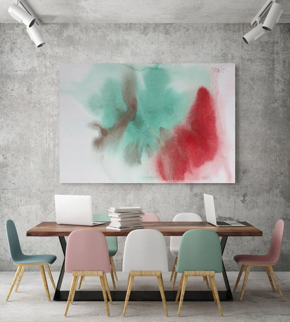 "Watercolor Coastal Abstract 75. Watercolor Abstract Red Green Canvas Art Print, Watercolor Painting Print up to 72"" by Irena Orlov"