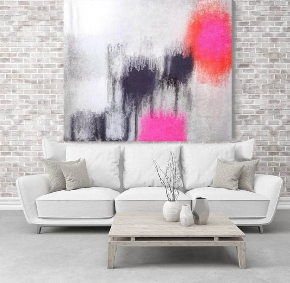 "Abstract Rhythms NO 30. Pink Gray Abstract Art, Wall Decor, Large Abstract Colorful Contemporary Canvas Art Print up to 48"" by Irena Orlov"