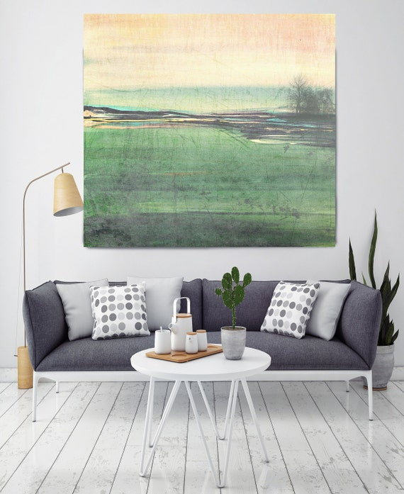"Motion. Huge Rustic Landscape Painting Canvas Art Print, Extra Large Green Yellow Canvas Art Print up to 50"" by Irena Orlov"