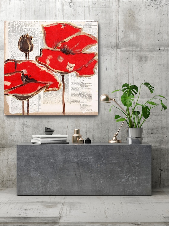 """Red Perfection. Rustic Red Floral Canvas Art Print, Red Rustic Modern Huge Canvas Art Print up to 48"""" by Irena Orlov"""