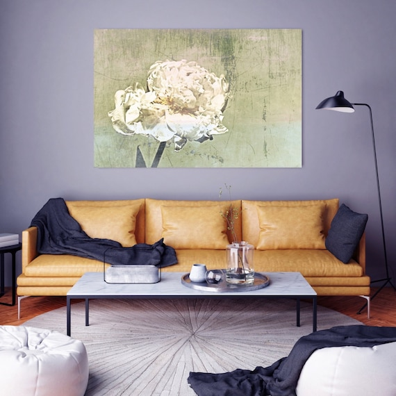 """Indulgence. Floral Painting, Green Olive White Abstract Art, Large Abstract Colorful Contemporary Canvas Art Print up to 72"""" by Irena Orlov"""