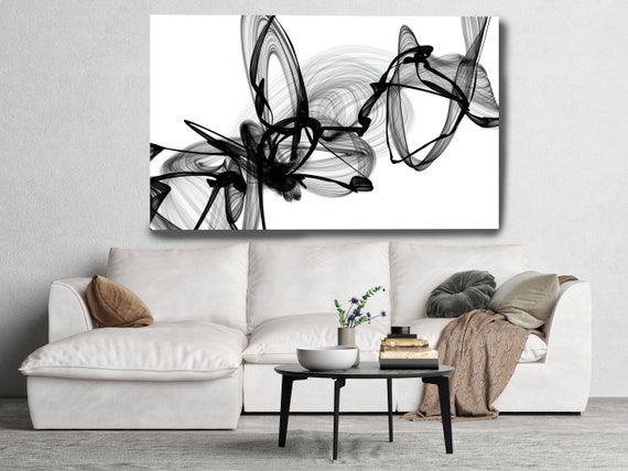 Black and White Wall Art, A Look, Home Decor Wall Art Black White Abstract Canvas Print Brush Stroke Minimalist Office Art Wall Line Art