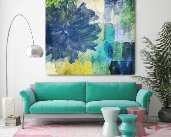"Beautiful in Blue. Abstract Blue Green Floral Canvas Art Print, Extra Large Floral Canvas Art Print up to 48"" by Irena Orlov"