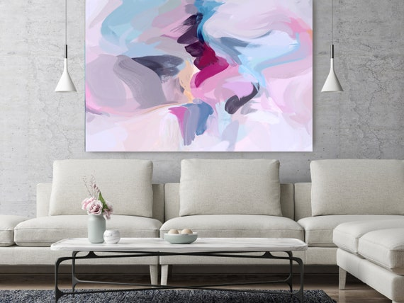 "Top Of Daylight 2, Abstract Painting Modern Wall Art Painting Canvas Art Print Art Modern Pink Blue up to 80"" by Irena Orlov"