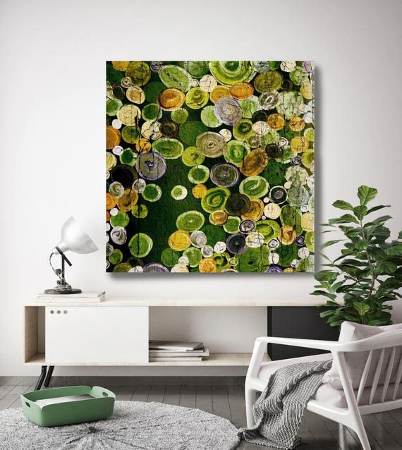"Cosmic. Geometrical Rustic Green Abstract Art, Extra Large Abstract Colorful Contemporary Canvas Art Print up to 48"" by Irena Orlov"