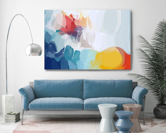 "Santa Fe. Abstract Paintings Art, Wall Decor, Extra Large Blue Abstract Colorful Contemporary Canvas Art Print up to 72"" by Irena Orlov"