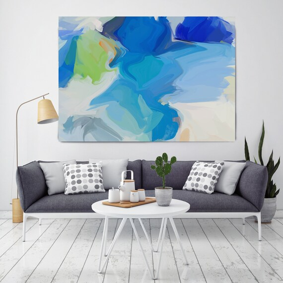 View From my window Blue Green Abstract Painting Original contemporary art large wall art blue green painting with texture canvas Print